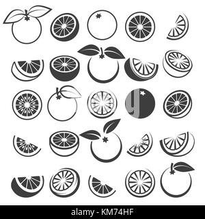 Orange icons. Tasty fresh vector black oranges fruits isolated on white background, citrus wedge, half and slices - Stock Photo
