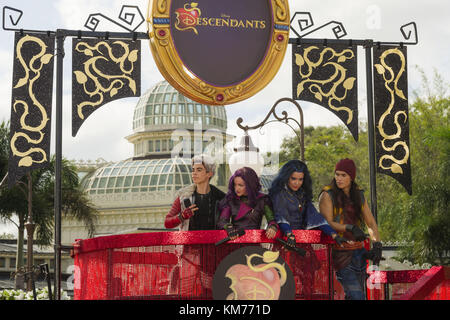 LAKE BUENA VISTA, FL - NOVEMBER 10:  The cast of Disney Channel Original Movie 'Descendants' (L-R: Cameron Boyce - Stock Photo
