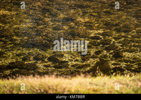 Details of the water running from the Jerte River as it passes through Navaconcejo, Extremadura, Spain - Stock Photo