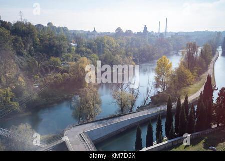 views of River Adda in Trezzo area - Stock Photo