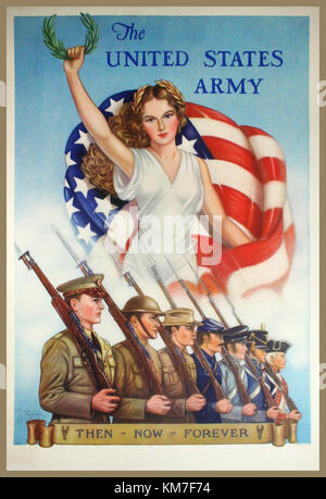 PROPAGANDA POSTER WW2 USA 1940's THEN-NOW-FOREVER, 1940. Vintage United States Army recruitment poster by Thomas - Stock Photo
