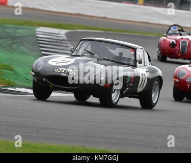 Tim Whitworth, Jaguar E-Type, Jaguar Classic Challenge, Silverstone Classic, July 2017, Silverstone, 60's cars, - Stock Photo