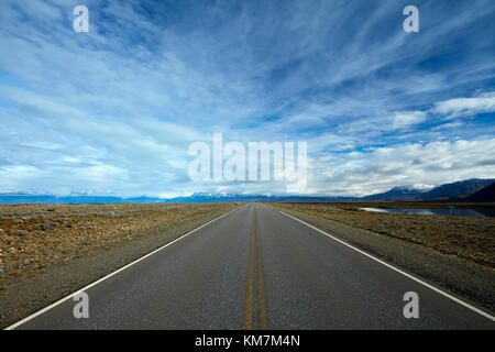 Road from El Calafate to El Chalten, Patagonia, Argentina, South America - Stock Photo
