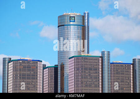 General Motors World Headquarters in Detroit, Michigan - Stock Photo
