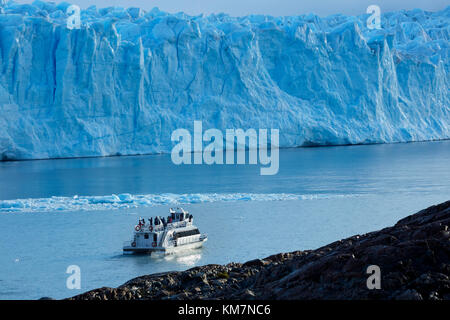 Tourist boat and Perito Moreno Glacier, Parque Nacional Los Glaciares (World Heritage Area), Patagonia, Argentina, - Stock Photo