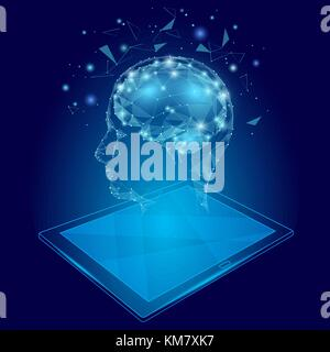 Low poly abstract brain tablet pc virtual reality concept. Geometric polygonal hologram mind imagination innovation - Stock Photo