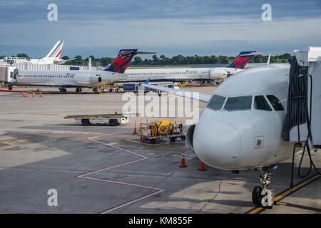 Plane At gate, Philadelphia International Airport, Philadelphia, PA, United States - Stock Photo