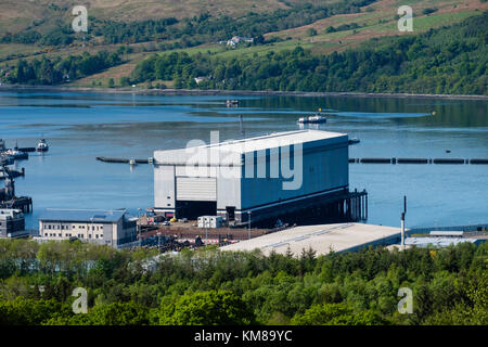 View of Faslane Nuclear Submarine Base on the Gare Loch in Argyll and Bute, Scotland, United Kingdom - Stock Photo