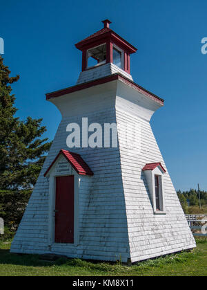 Anderson Hollow Lighthouse, (1889), original wooden salt shaker tower, Shipyard Park, Mary's Point Road, Harvey, - Stock Photo