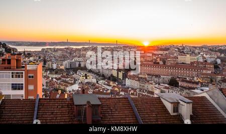 LISBON, PORTUGAL - NOVEMBER 19, 2017: The cityscape of Lisbon, Portugal, at sunset on a November day. - Stock Photo
