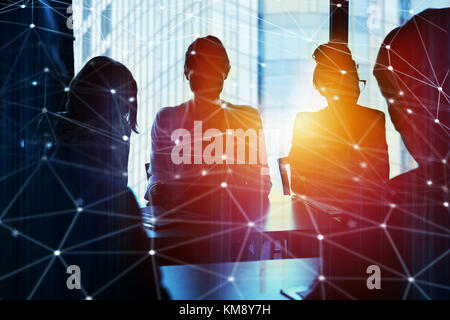 Businessmen that work together in office with network connection effect. Concept of teamwork and partnership. double - Stock Photo
