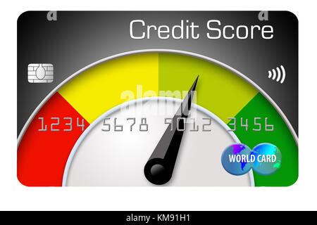 Ten credit cards are lined up with the one in front decorated with a large number one It is an illustration for - Stock Photo
