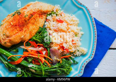 Grilled Chicken Filled With Spinach - Stock Photo