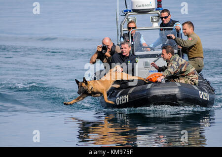 French and swiss gendarmes take part in a lifesize drill at Leman lake, Savoie, France - Stock Photo