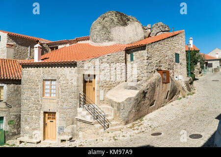 Stone houses and nerrow historical streets in Monsanto village, Portugal - Stock Photo