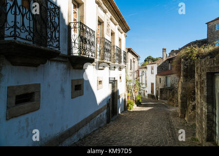 Stone houses and narrow historical streets in Monsanto village, Portugal - Stock Photo