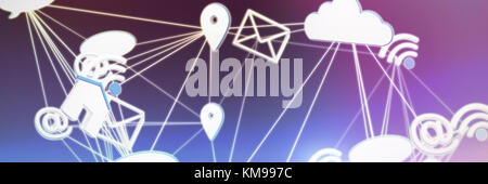 Lines connecting various networking icons against gray and purple background - Stock Photo