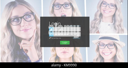 Close-up of login page against business desk with laptop ...
