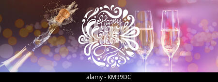 Elegant happy new year against two glasses of champagne - Stock Photo