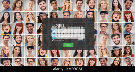 Close-up of login page against people collage portrait very wide - Stock Photo