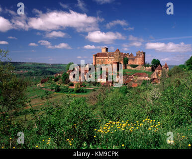 Chateau de Castelnau-Bretenoux in Lot Province, Quercy, Aquitaine, Midi-Pyrenees, France - Stock Photo