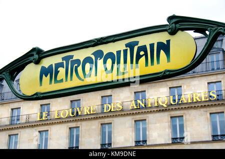 Paris, France. Metro sign - Palais Royal / Musee du Louvre in Place du Palais Royal - Stock Photo