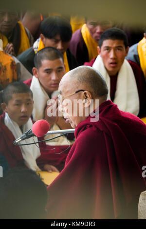His Holiness the 14th Dalai Lama talks to Tibetan followers at Namgyal Monastery in Mcleod Ganj, India - Stock Photo