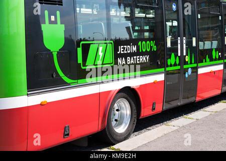 Dobíjení elektroautobusů, Želivského, Praha, Ceska republika /  ecology bus electromobile charging station on the - Stock Photo