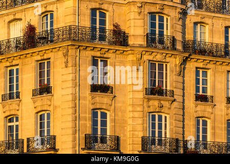 Haussmannian building facade at sunset on Ile de la Cite. 4th Arrondissement, Paris, France - Stock Photo