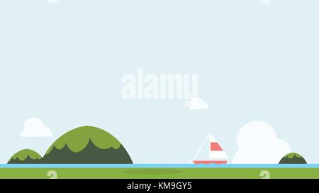 Flat nature landscape with sailboat and sky background vector illustration.Seascape with green mountains and background.Tropical - Stock Photo