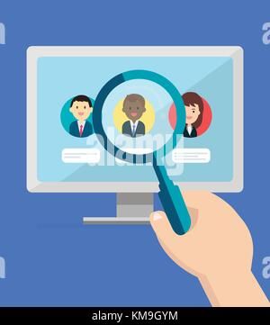 Searching profile people concept.Computer on a desk and hand holding magnifying glass over searching person on screen - Stock Photo