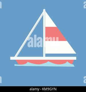 Sailboat with blue wave and isolated background vector.Ship on wave - Stock Photo