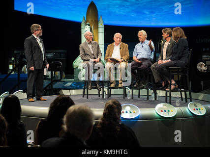 Smithsonian National Air and Space Museum Curator Matthew Shindell (far left) moderates a discussion with (seated, - Stock Photo