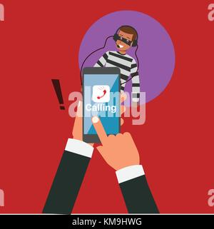 Business hand calling with application but hacker eavesdropping vector illustration.Robbery online business concept.Hacker - Stock Photo
