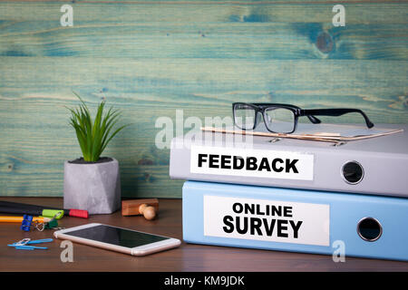online survey and feedback. Successful business, advertising and social networking information - Stock Photo