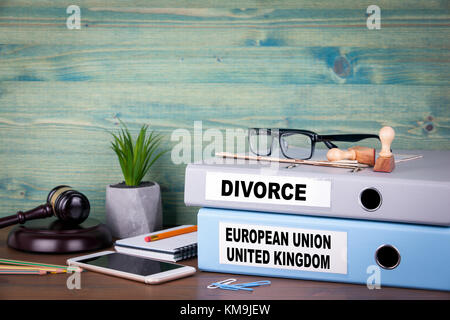 European Union and United Kingdom relationship. Politics and business relations - Stock Photo