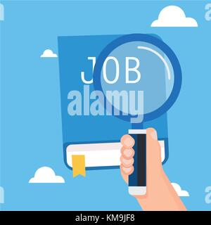 Hand holding magnification for search job with book and sky background.Vector illustration - Stock Photo