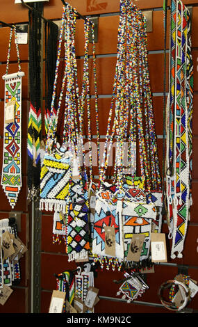 Lion Park, traditional african beadwork in the kiosk - Stock Photo