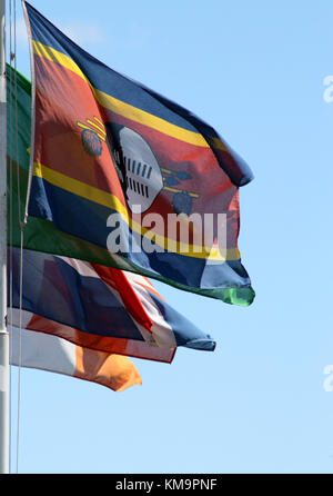 Kruger National Park, Swaziland flag and other flags at the Malelane gate - Stock Photo
