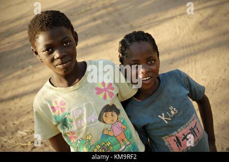 Two girls in Kawaza village, Eastern Province, Zambia - Stock Photo