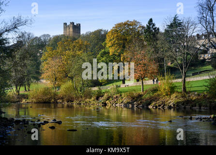 Richmond Castle in Richmond, North Yorkshire, England, viewed from River Swale - Stock Photo