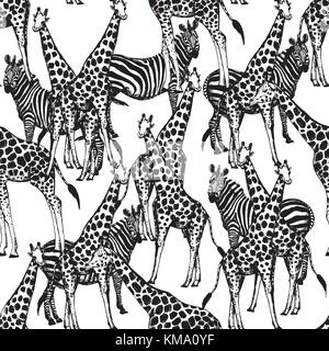 Seamless vector pattern of hand drawn sketch style giraffes and zebras. - Stock Photo