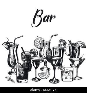 Set of hand drawn sketch style alcoholic drinks. Vector illustration isolated on white background. - Stock Photo