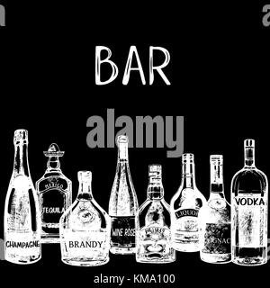 Hand drawn sketch style bottles of alcohol. Vector illustration isolated on black background. - Stock Photo