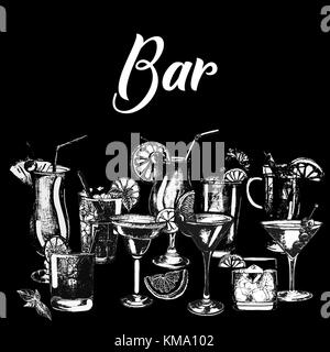 Set of hand drawn sketch style alcoholic drinks. Vector illustration isolated on black background. - Stock Photo