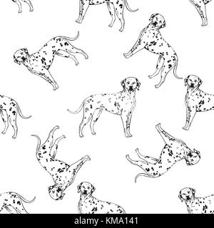 Seamless pattern of hand drawn sketch style dalmatian. Vector illustration isolated on white background. - Stock Photo