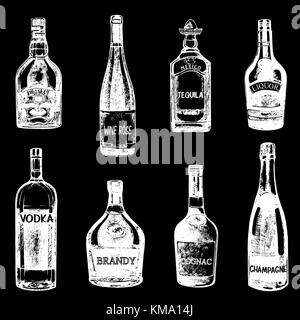 Set of hand drawn sketch style bottles of alcohol. Vector illustration isolated on black background. - Stock Photo