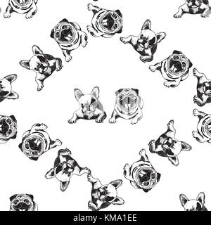 Seamless pattern of hand drawn sketch style dogs. Vector illustration isolated on white background. - Stock Photo