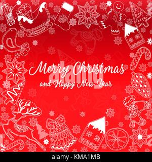 Hand drawn sketch style Christmas and New Year holiday card. Vector illustration isolated on red background. - Stock Photo