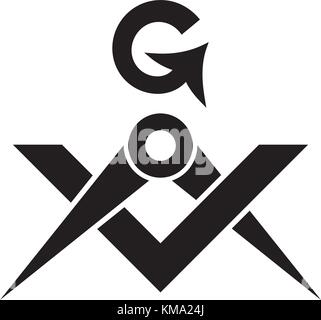 The Masonic Square and Compasses (The Sacral Emblem of Medieval fraternity and Secret society). Used in Mystical - Stock Photo